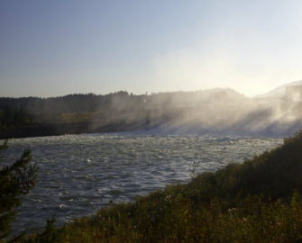 Bonneville Dam spillways create a wall of mist in the Columbia River Gorge in August. (Casey O'Hara/The Oregonian)